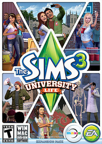 The Sims 3: University Life box art packshot