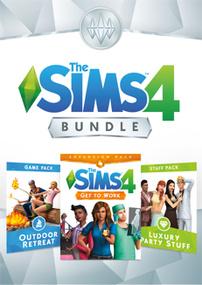 The Sims 4 Bundle: Get to Work, Outdoor Retreat, Luxury Party Stuff packshot box art
