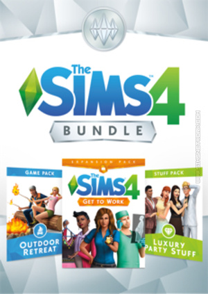 The Sims 4 Bundle: Get to Work, Outdoor Retreat, Luxury Party Stuff packshot box art