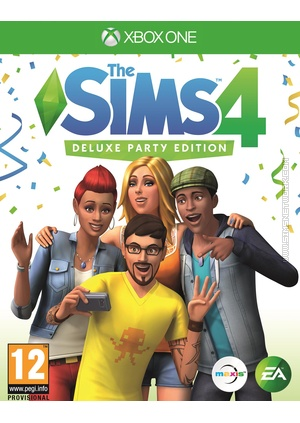 The Sims 4 Deluxe Party Edition on Xbox One box art packshot