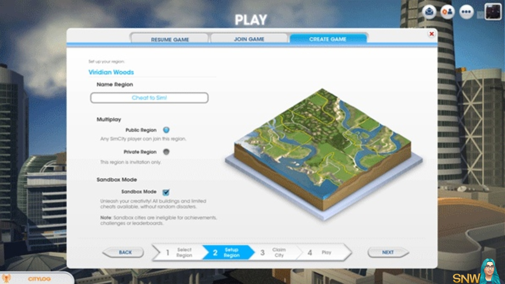 SimCity Sandbox Mode